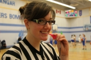 West Kootenay basketball official, Nina Flanagan, shows off a pink whistle used in the BCBOA campaign.  Bruce Fuhr photo
